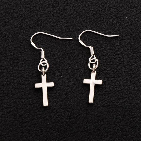925 Серебряный рыболовный крючок небольшой цилиндрический крест знаменитости серьги 50 пар / лот Леди Шарм редкие ювелирные изделия E429