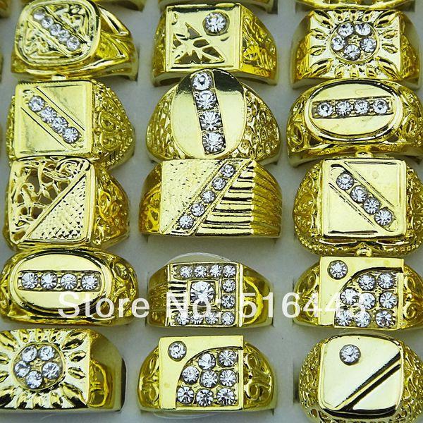30 unids venta caliente estilo de la mezcla checa de diamantes de imitación chapado en oro moda para hombre anillos de joyería al por mayor lotes A-047