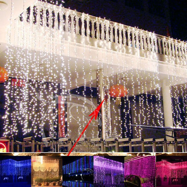 Wholesale-6m x 3m Led Waterfall Fée extérieure String light Christmas Wedding Party Holiday Garden 600 LED Rideau Lumières Décoration EU US