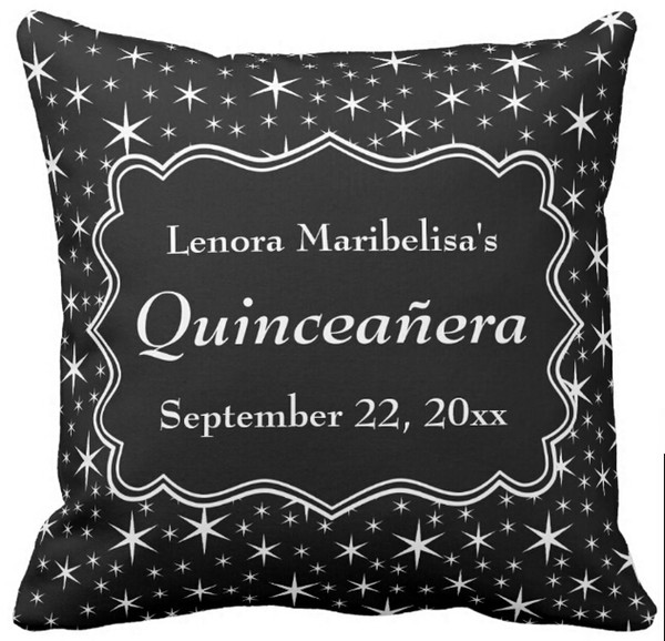 "Throw Pillow Case, Black and White Stars Pattern Quinceanera Square Sofa Cushions Cover, ""16inch,18inch,20inch"", Pack of X"