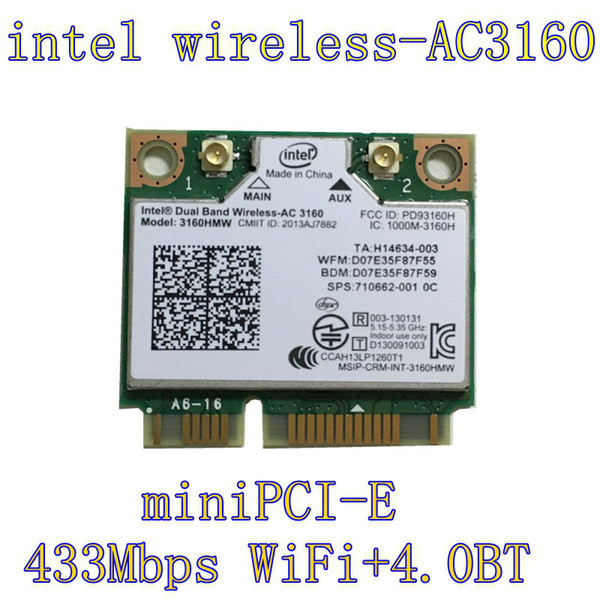 Wholesale- Intel 3160.HMWG.R Dual Band Wireless AC + Bluetooth Mini PCIe card Supports 2.4 and 5.8Ghz B/G/N/AC Bands with Mounting Screws