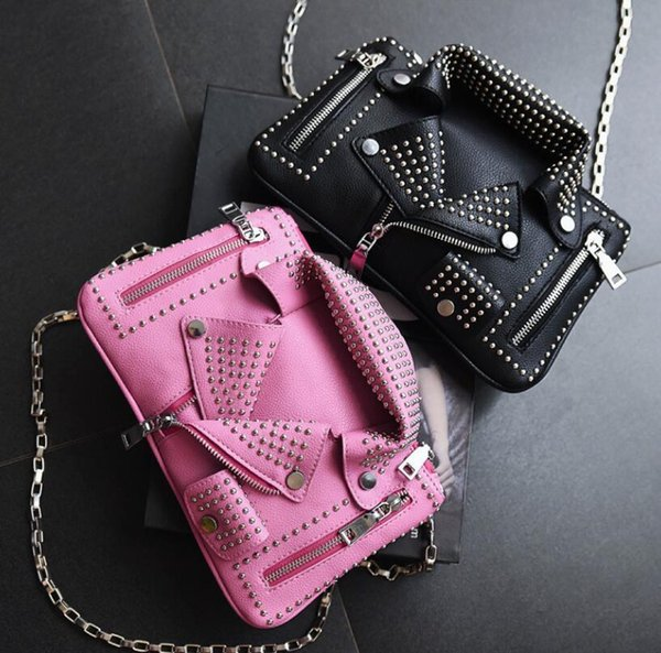 Womens Girls Punk Studs Spike Shoulder Bags Motorcycle Metal Chain Handbags New Rivets 2017 New Rock Street Fashion LP12621
