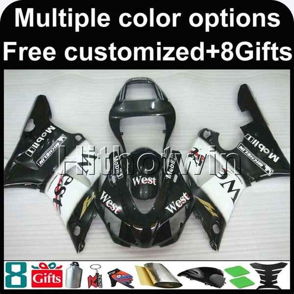 23colors+8Gifts WEST BLACK motorcycle cowl for Yamaha YZF-R1 1998-1999 98 99 YZFR1 1998 1999 98-99 ABS Plastic Fairing