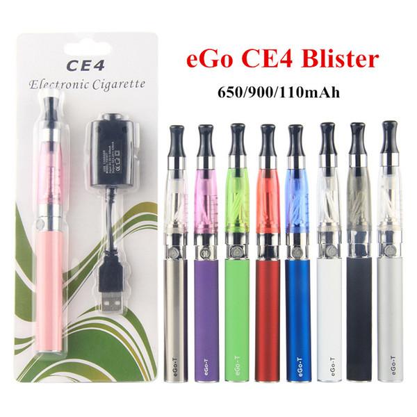 eGo CE4 Starter Kit Electronic Cigarette 650/900/1100mAh ego-t Battery 1.6ml Clearomizer eGo CE4 Blister Kits Vape Pen eVod MT3 DHL Free