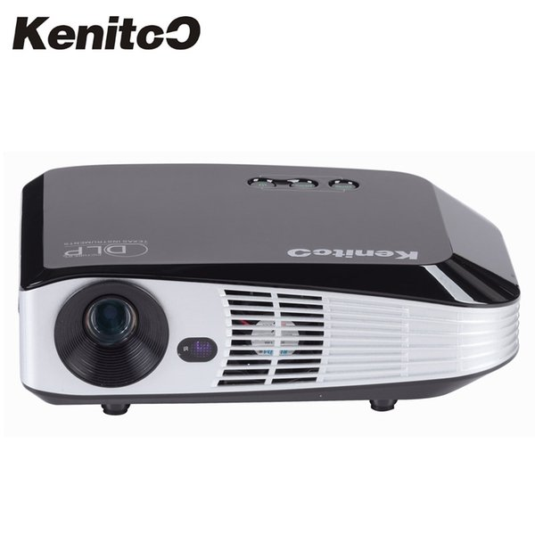 Wholesale-Build-in Wifi Android 4.4 Smart DLP Projector 4K 2160P 3D Projector 4500Lumens Home/Business/Meeting Use With 2Pcs 3D Glass Free