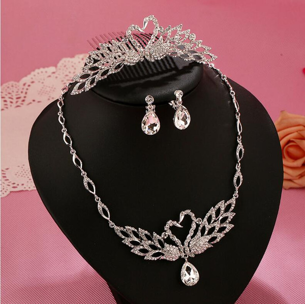 3pcs/set Wedding Bride Jewelry Accessaries Set (Crown+Earring + Necklace) Crystal Leaves Design LDRESS69