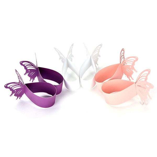 Wholesale- Butterfly Paper Napkin Rings Wrappers Holders Table Decoration Wedding Party Favors Paper Decor Laser Cut Cards 3 Colors 50Pcs