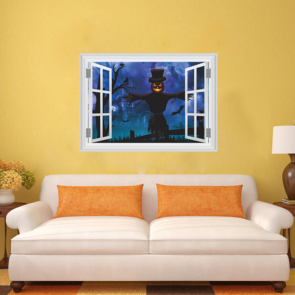 New 3D Scary Ghost Castle Scarecrow Wall Sticker Halloween Wall Decorative Mural decal for Living Room and Bedroom Removable