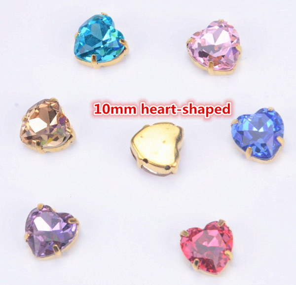 Factory new products! 30pcs/lot highest quality crystal stones 10mm heart shaped sew on beads for diy strass accessories