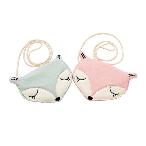 Wholesale- Raged Sheep Lovely Children one shoulder bag coin purse cute fox girls messenger bag baby accessories