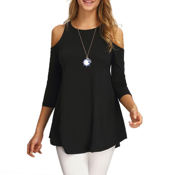 Großhandels- Beiläufiger Frühlings-Sommer-Herbst-kalter Schulter-Hipster-Frauen-T-Shirt Dame Long T-Shirt Nette süße Tunika-weibliche Spitzen-T-Stück Kleidung 2016