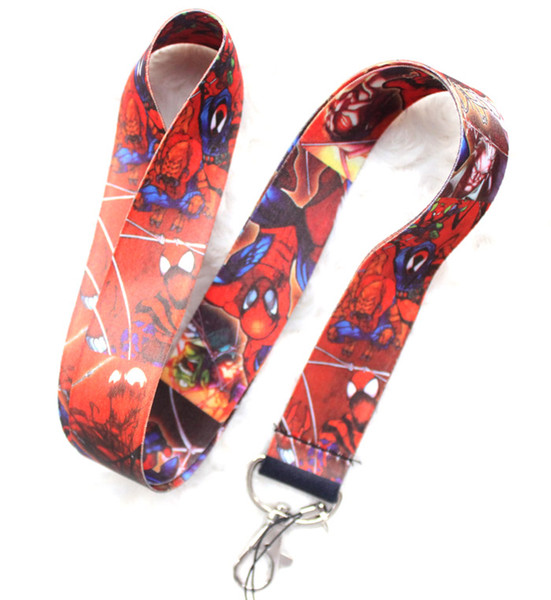 Wholesale Mixed 10 pcs Popular Cartoon Spiderman Mobile phone Lanyard Key Chains Pendant Party Gift Favors 0118