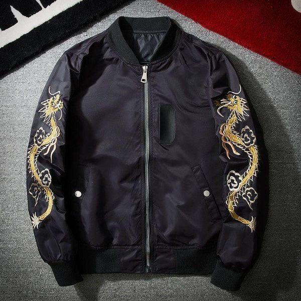 2017 Новая Весна Черный Вышивка Yokosuka Япония Куртка Мужская Уличная Брендовая Одежд