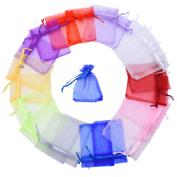 500 Piece 11 x 16 cm / 4.3 x 6.3 inches Organza Gift Bags Wedding Jewelry Bags Jewelry Pouches, Pack of 100 Random Color 5Pack / Lot