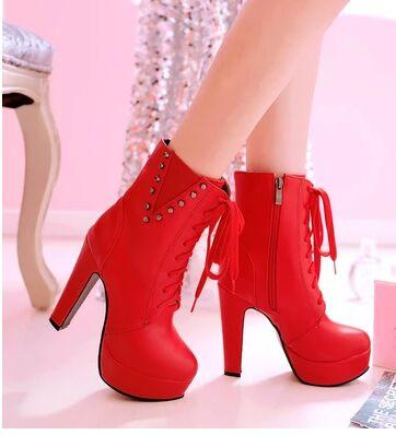 Wholesale New Arrival Hot Sale Specials Super Influx Warm Knight Plush Sweety Noble Martin Rivets Lace Up Platform Heels Ankle Boots EU34-43