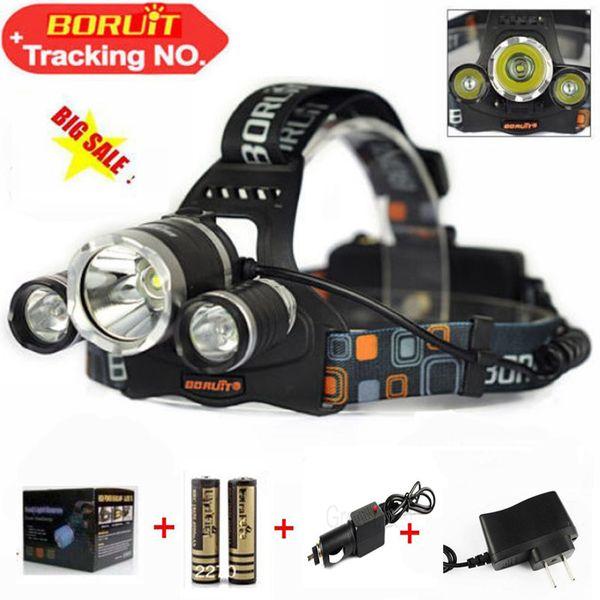 Boruit 6000 Lumens Headlight 3 LED Cree XM-L T6+2R5 Head Lamp High Power LED Headlamp +2*18650 battery+Charger+car charger