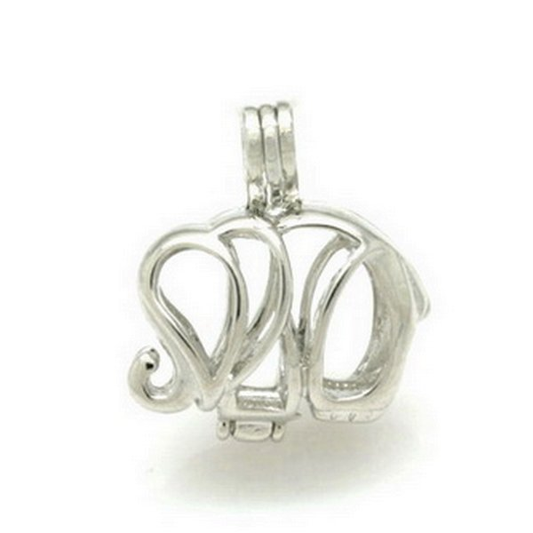 925 Silver Elephant Pearl /Gem Beads Locket Cage Pendant, Sterling Silver Pendant Fitting For DIY Fashion Jewellery Charm