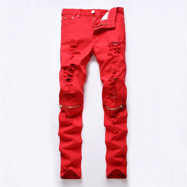NUEVO Rojo Blanco Negro Ripped Denim Pant Knee Hole Zipper Biker Jeans Hombres Slim Skinny Destroyed Torn Jean Pants pantalones vaqueros de algodón