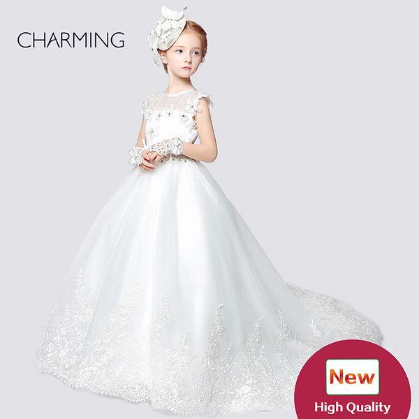 Flower dress for girl Designer kids dresses Flower girl dress ivory high quality Pageant dresses for girls China suppliers