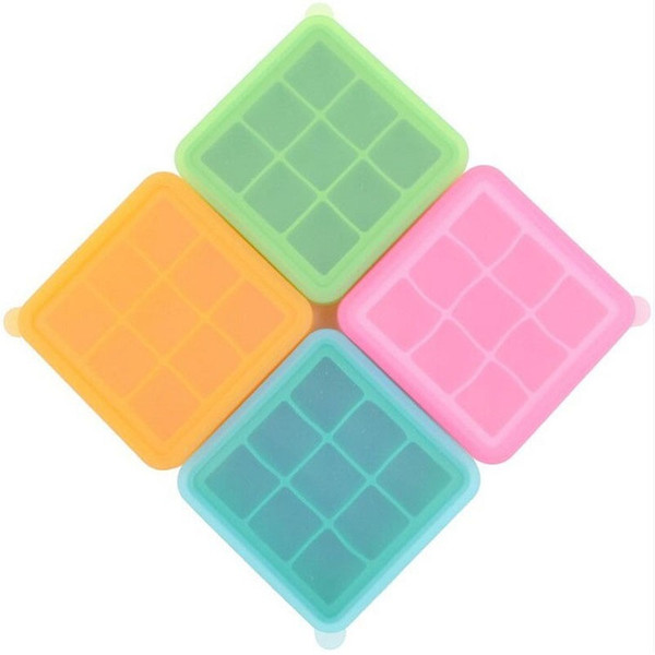 50pcs/lot 9 Holes Silicone Ice Cube Tray With Lid Square Blocks Mold Jelly Baking Mould Wine Cooler Free Shipping ZA4049