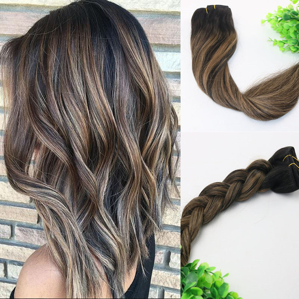 8a 120gram Clip In Human Hair Extensions Balayage Ombre Dark Brown Highlights Brazilian Human Remy Hair Thick End Remy Hair Weave For Cheap Cheap