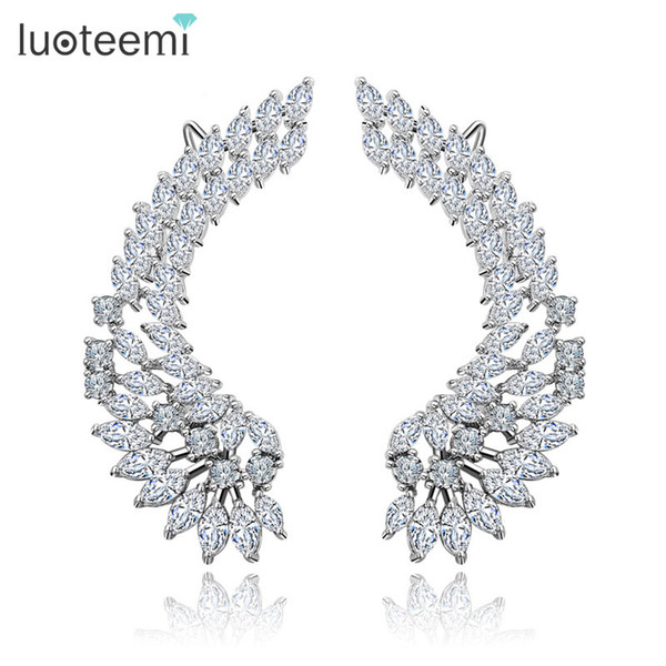 Gümüş Ton Kore Tarzı Shining CZ Kristal Kaplamalı Büyük Melek Kanatları Kadınlar için Damızlık Küpe Düğün Brincos Takı LUOTEEMI