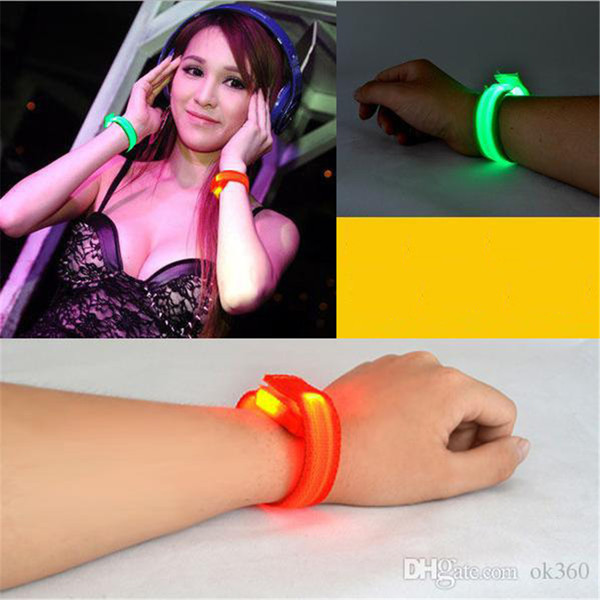 Nylon LED Flashing Arm Band Wrist Strap Armband light for Outdoor Sports Safety 22cm Activity Party Club Cheer Night Light