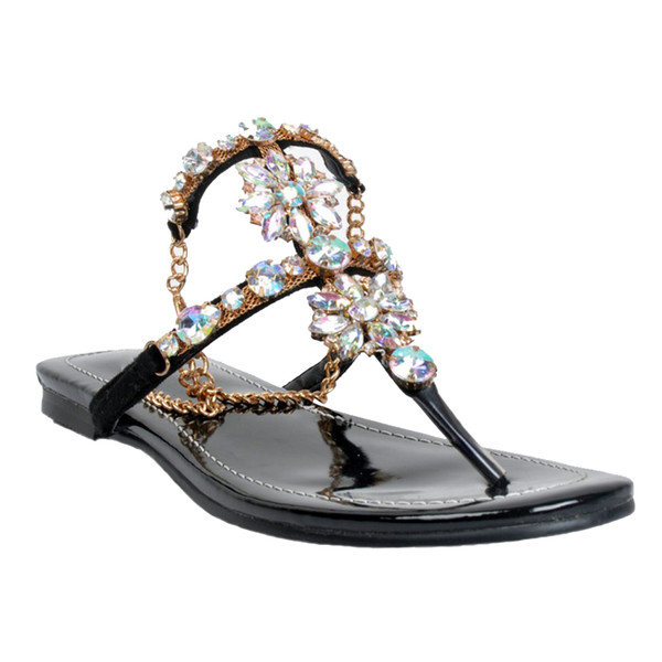 Kolnoo Women Ladies Handmade Gold Chain T-strap Sandals Rhinstone Ankle Wrap Sexy Beach Summer Flats Shoes XD138