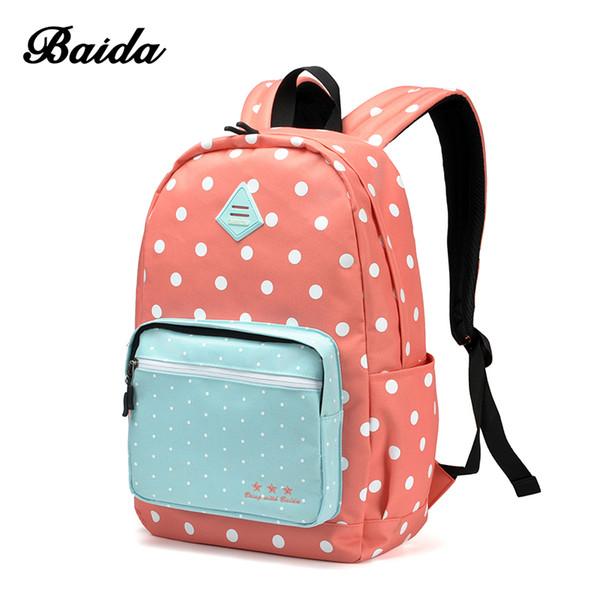 Wholesale- Best Sweet Polka Dots Backpack High Quality Pink Cute Backpacks Rugzak Stipjes School Bookbags For Teens Girls
