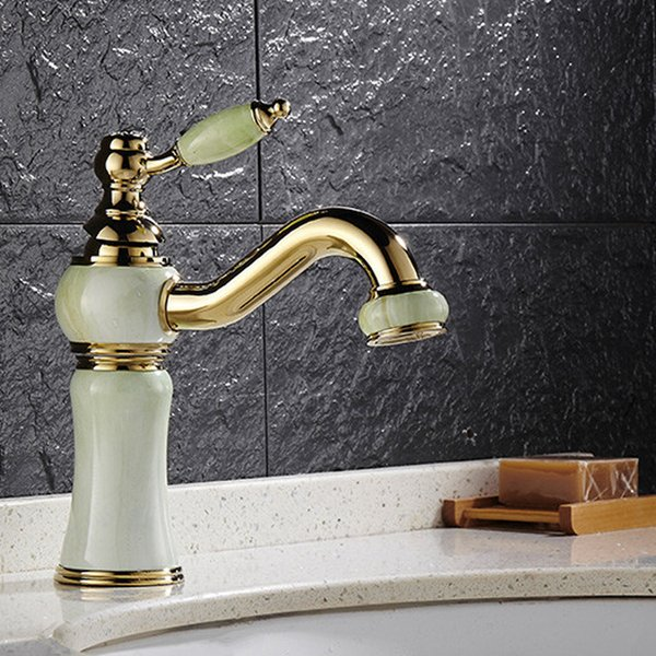 top popular Water Tap with Soild Brass  Gold Finished With Jade Body  Single Handle Cold and Hot Bathroom Bain Faucet HS313 Multifunctional wrench 2019