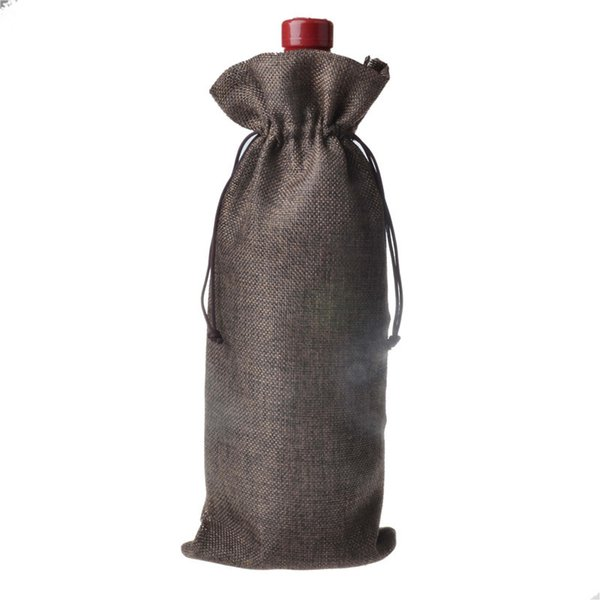 500pcs Jute Wine Bags Champagne Wine Bottle Covers Gift Pouch burlap Packaging bag Wedding Party Decoration