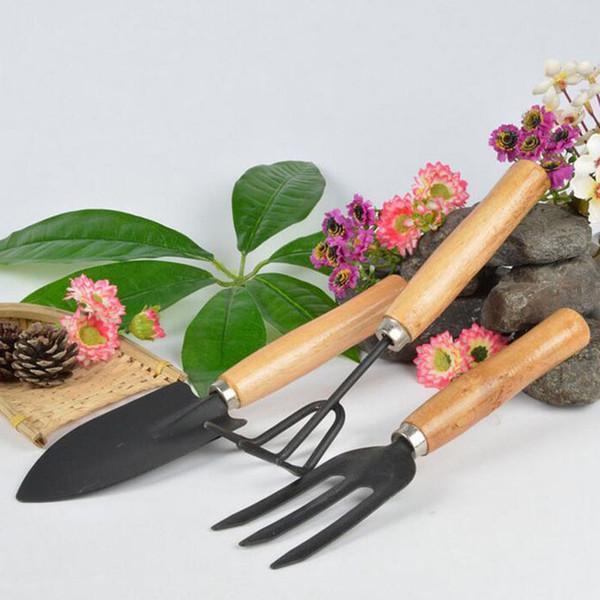 best selling 3Pcs Set Mini Sharp Shovel Rake Wooden Handle Iron Head Plant Tool Set Reinforced Gardening Round Mini Garden Tools ZA2597