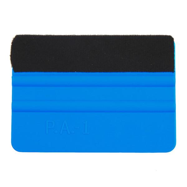 Wholesale- New 1Pcs Squeegee Car Film Tool Vinyl Blue Plastic Scraper Squeegee With Soft Felt Edge Window Glass Decal Applicator