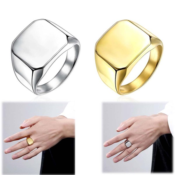 Luxury Engagement Rings Classic Gold Plated 316L Stainless Steel Rings Romantic Titanium Steel Wedding Rings Simple Men's Trend Square Ring