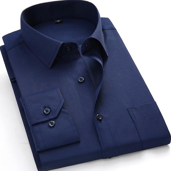 Toptan-Artı Boyutu 4XL 5XL 6XL 7XL 8XL Erkekler Gömlekler Uzun Kollu Katı Beyaz Renk Adam İş Resmi İş Gömlekleri Erkek Casual Tops