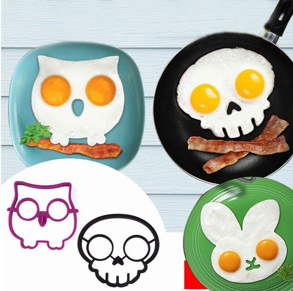 3 Style Silicone Egg Mold Rabbit Owl Skull Design Fried Egg Ring Cooking Tools Kitchen Gadgets Funny Egg Holder Tray