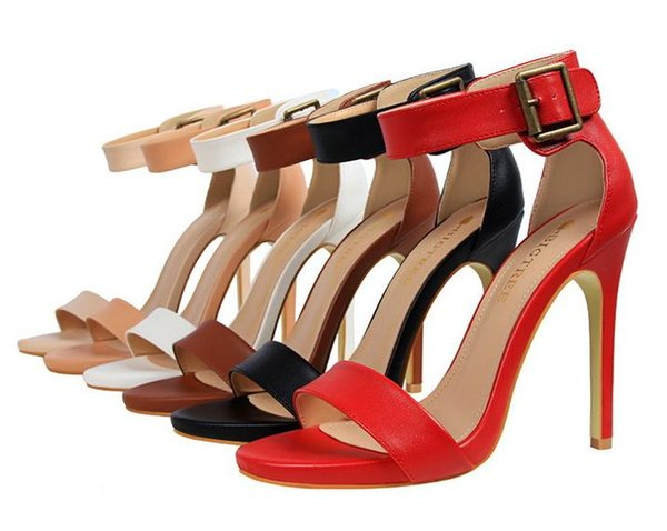 Concise Single Strap Open Toe Summer Shoes Women High Heels With Buckle 6 Colors Size 34 to 39