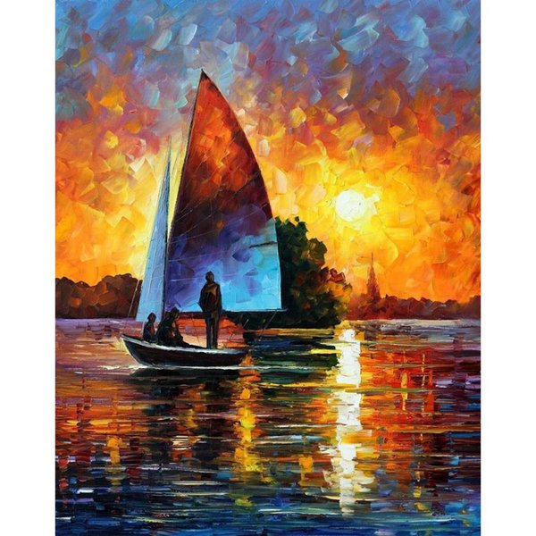 Modern wall art beautiful paintings Leonid Afremov sunset by the lake Landscapes Hand oil painted on Canvas