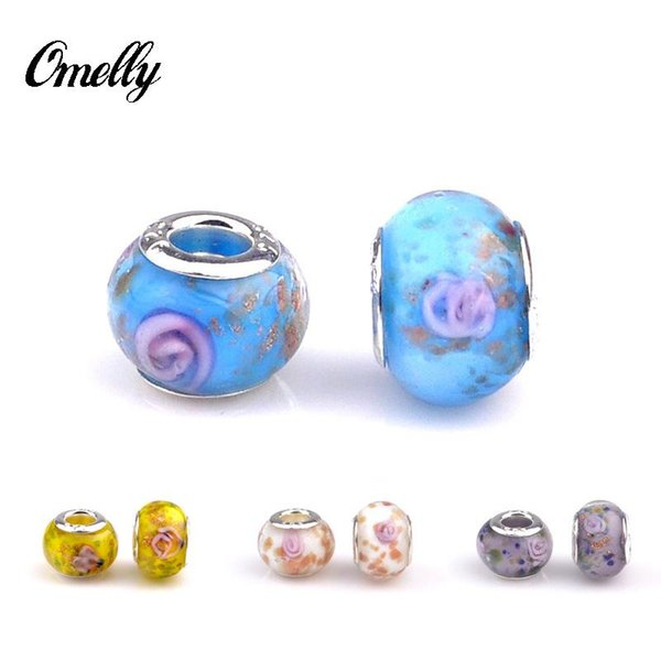 Charms Beads Silver Filled for Pandora Jewelry Handmade Lampwork Pandora Beads Charms DIY Bracelet Wholesale in Bulk Low Price 7 Colours