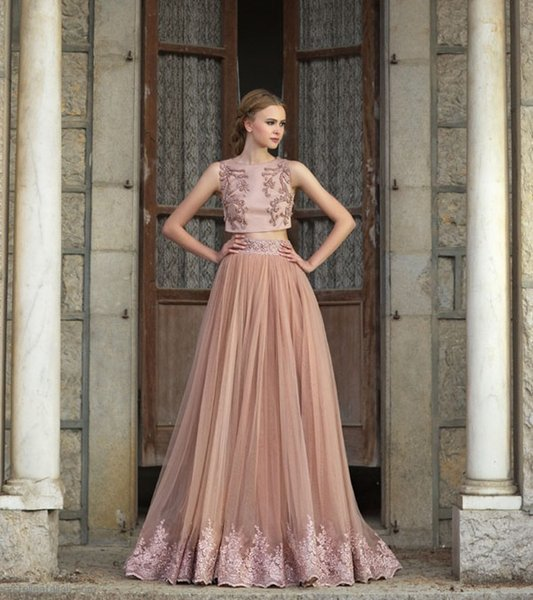 Two Pieces Modern A-Line Tulle Prom Dresses 2017 Custom Made Champagne Jewel Neck Sleeveless Beads Appliques Vintage Evening Party Gowns