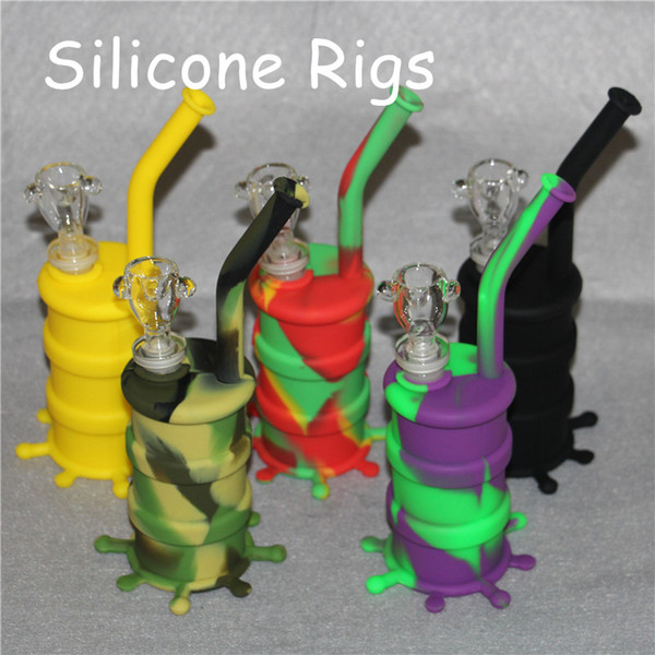 Silicon Oil Drum Rigs Silicone Hookah Bongs Silicon Dab Rigs Cool Shape silicone dab mats good quality and free shipping DHL