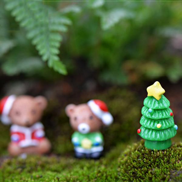 10pcs Christmas Decor Squirrel Xmas Tree Resin Craft Fairy Garden Miniatures Succulent Gnomes Bonsai Tools terrarium Figurines Jardin Gnomes