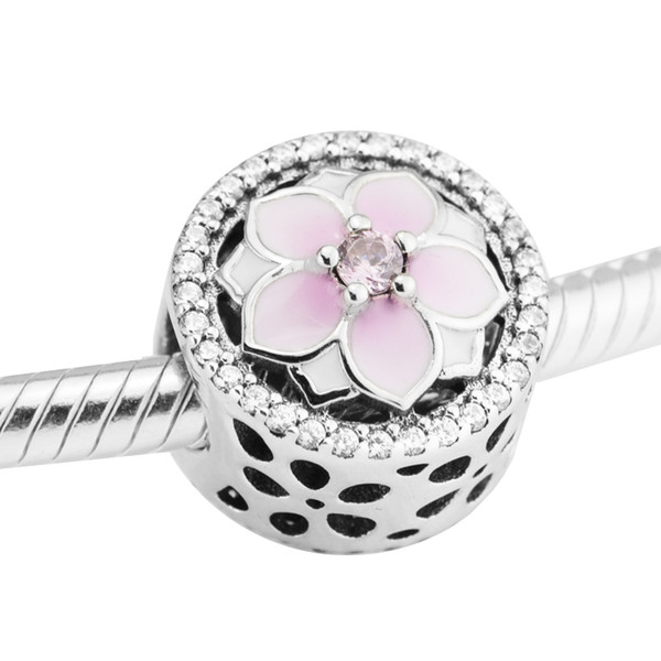 Magnolia Bloom Charms Pale Enamel CZ 2017 Spring 100% 925 Sterling Silver Beads Fit Pandora Charms Bracelet Authentic DIY Fashion Jewelry