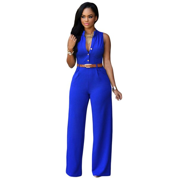 12 colori moda grandi donne senza maniche tute maxi con cintura ampia gamba tuta macacao pantaloni lunghi eleganti tute