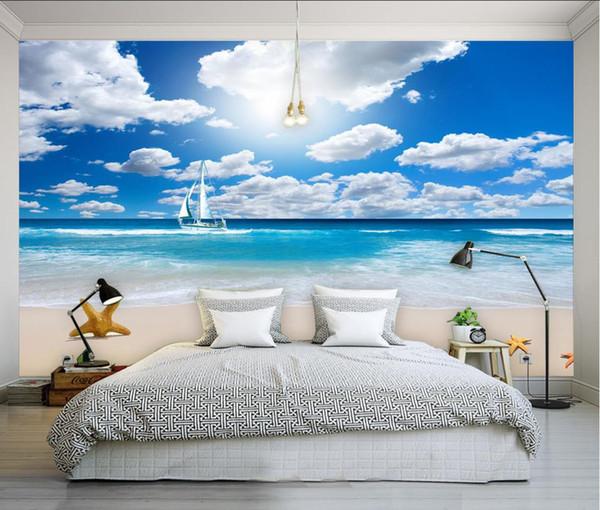 Carta Da Parati Con Sfondo Mare.Acquista Cielo Blu Nuvole Bianche Mare Sfondo Muro Murale Carta Da