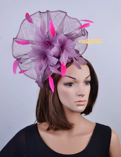 NEW heather purple hot pink Big Sinamay feather fascinator hat for kentucky derby,melbourne cup,ascot races,wedding party.FREE SHIPPING.