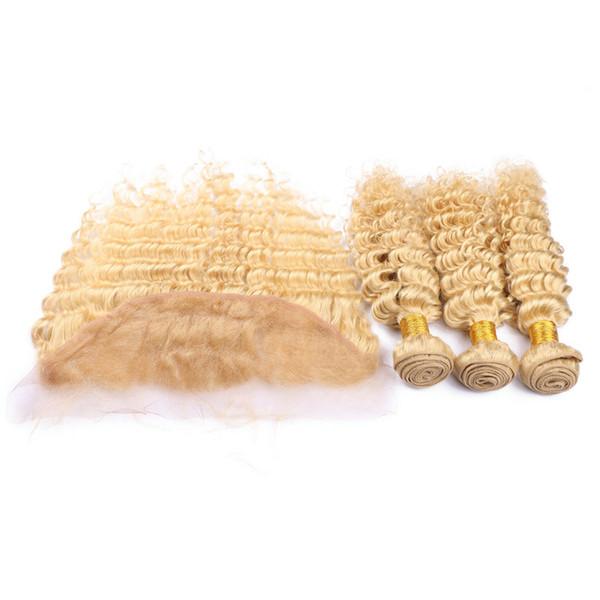 #613 Blonde Ear to Ear 13x4 Lace Frontal Closure With 3Bundles Deep Wave Bleach Blonde Virgin Malaysian Human Hair Weaves 4Pcs Lot