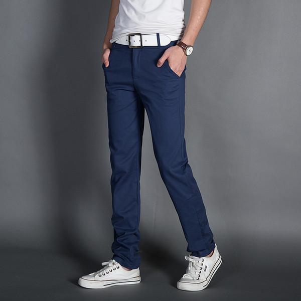 Toptan- erkek ince düz rahat pantolon artı boyutu elastik pantolon