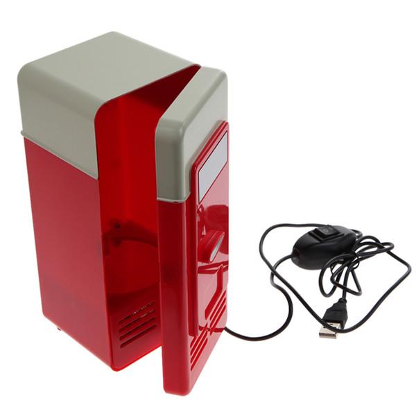 Wholesale- Red Desktop Mini USB Gadget Beverage Cans Cooler Warmer Refrigerator Car Mini Fridge