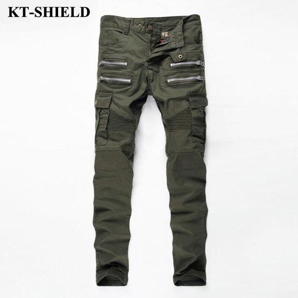 Al por mayor-2017 Mens Skinny Biker Jeans Army Green Brand Moda Pantalones de mezclilla bolsillos Cargo Pant Hombres Slim fit Jeans de algodón de alta calidad